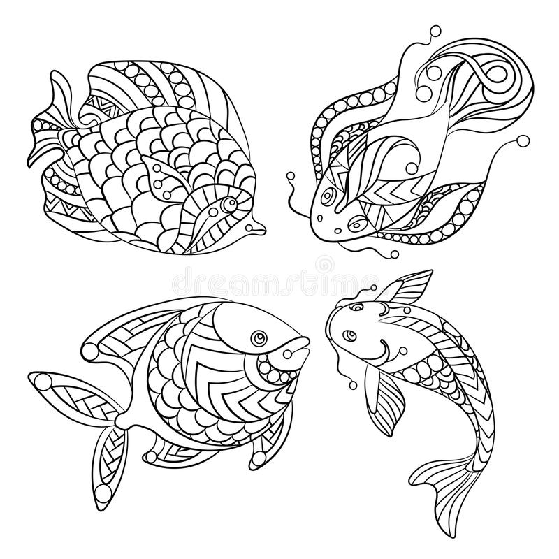 Coloring pages for children and adults with set of ocean fishes. Coloring pages for children and adults with set of ocean and sea fishes in vector graphic stock illustration