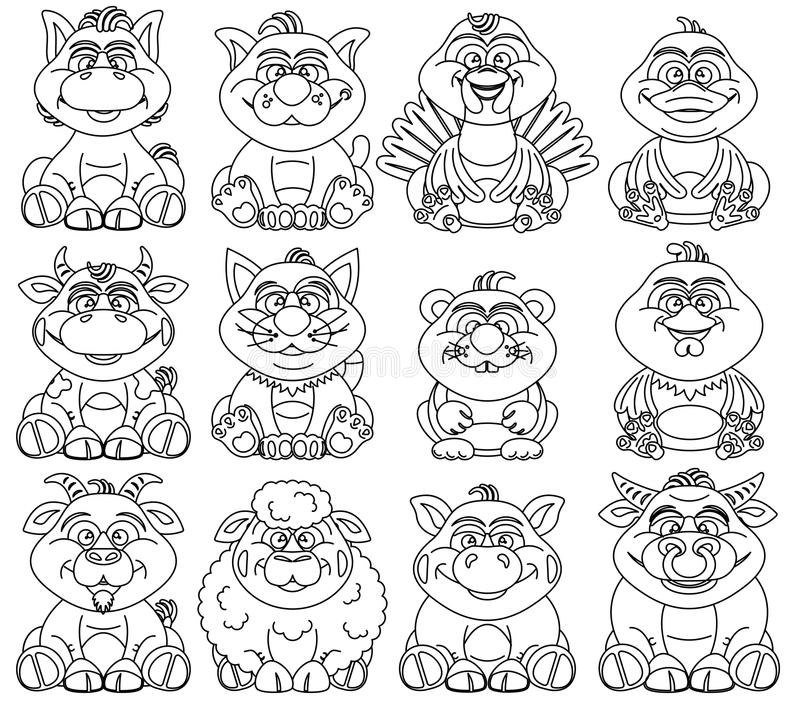 Coloring Pages For Children Contour Animal For Kid Stock Vector ...