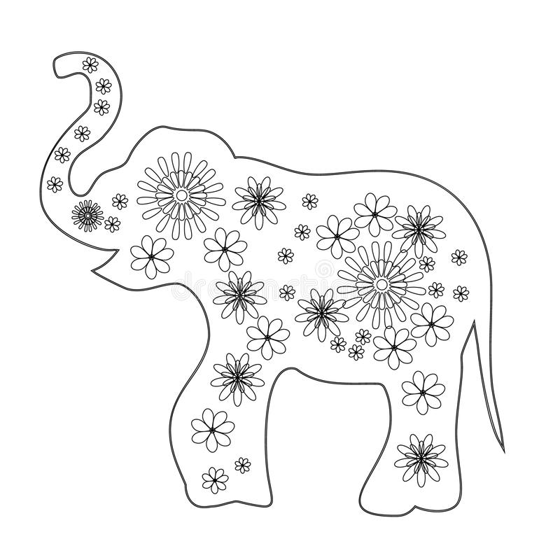 Coloring pages for children, vector coloring book. Elephant with flowers, colored elephant royalty free illustration