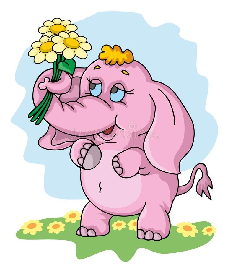 Cute little elephant with a flowers stock illustration