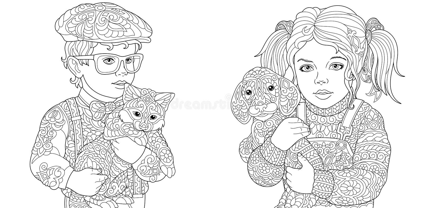 Coloring Pages. Coloring Book for adults. Colouring pictures with boy and girl holding cat and dog drawn in zentangle style. stock image