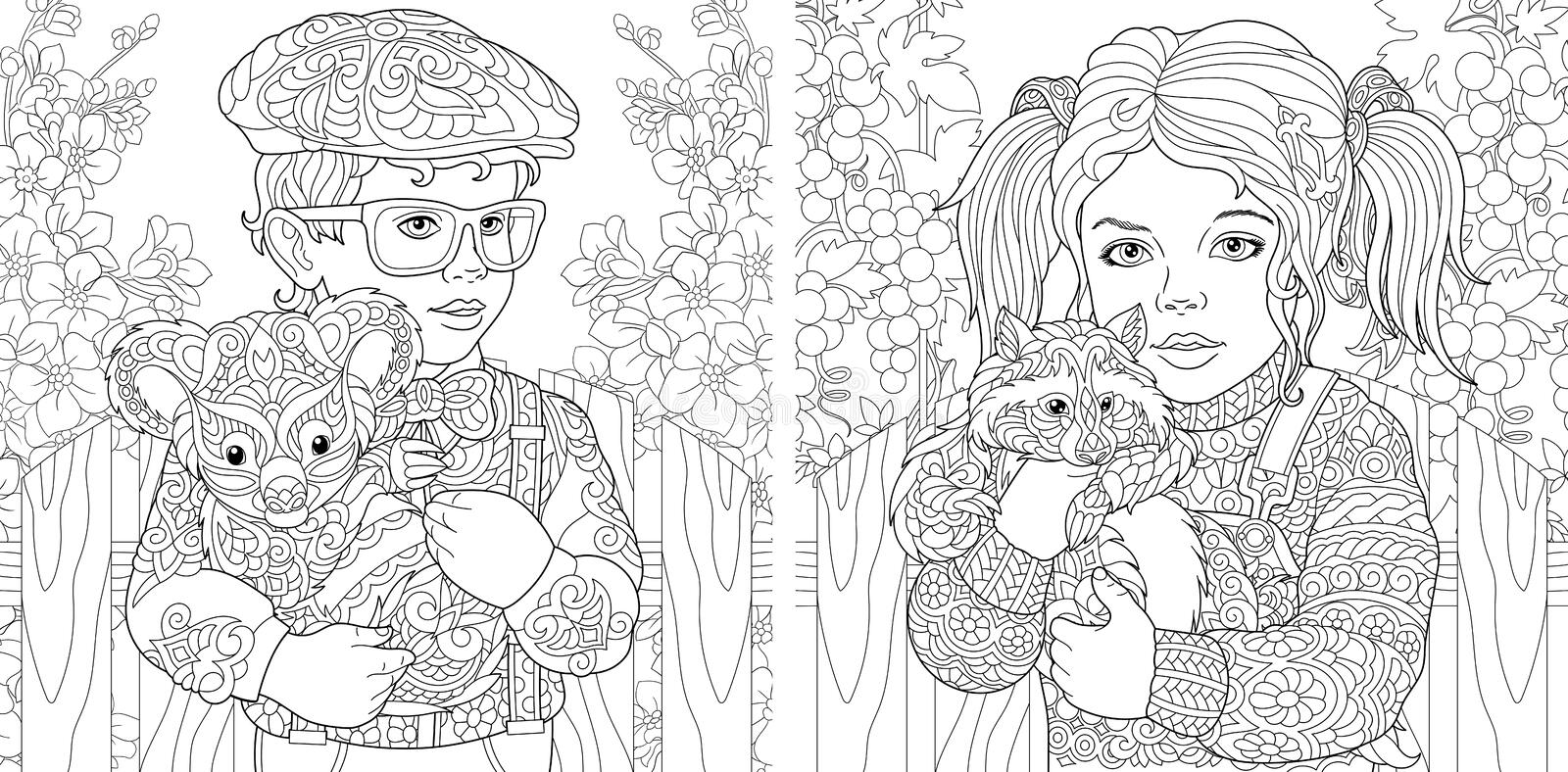Coloring Pages. Coloring Book for adults. Colouring pictures with kids holding furry animals drawn in zentangle style. Vector stock image