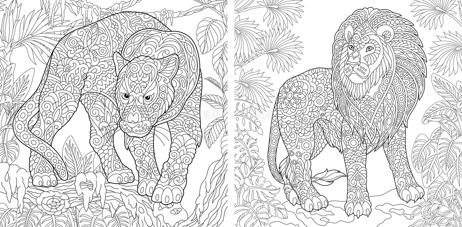 Coloring Pages. Coloring Book for adults. Colouring pictures with panther and lion. Antistress freehand sketch drawing with doodle stock illustration