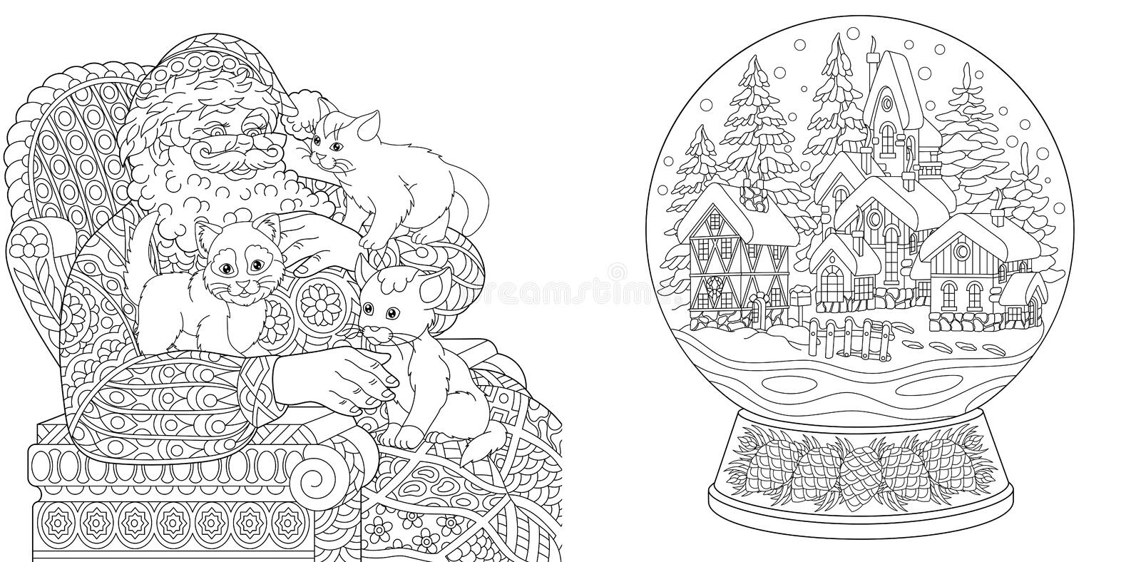 Coloring Pages. Coloring Book for adults. Colouring pictures with Santa Claus and magic snow ball. Antistress freehand sketch royalty free stock images