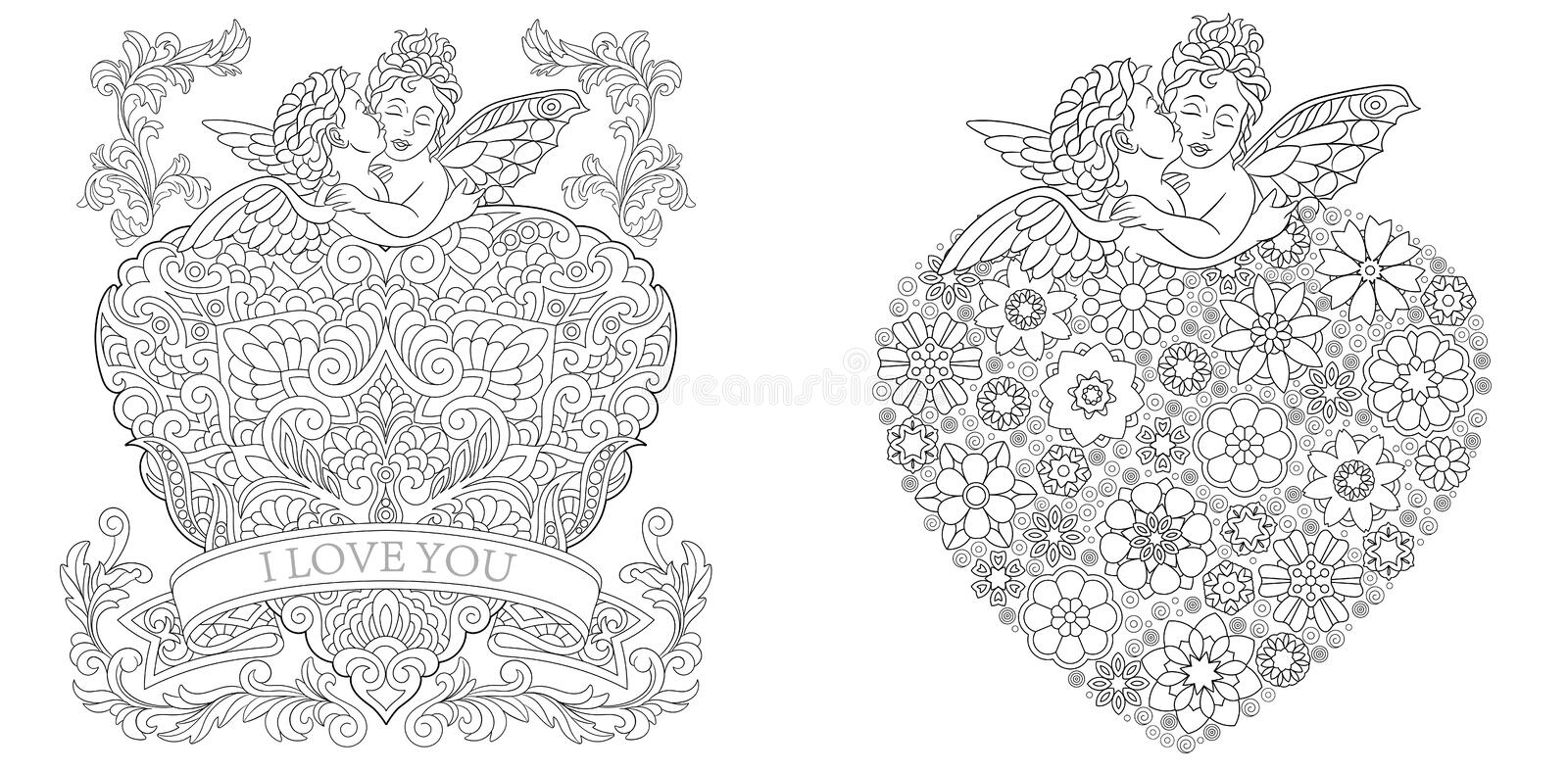 Coloring Pages. Coloring Book for adults. Colouring pictures. Valentines day greeting cards drawn in zentangle style. Vector royalty free stock photography