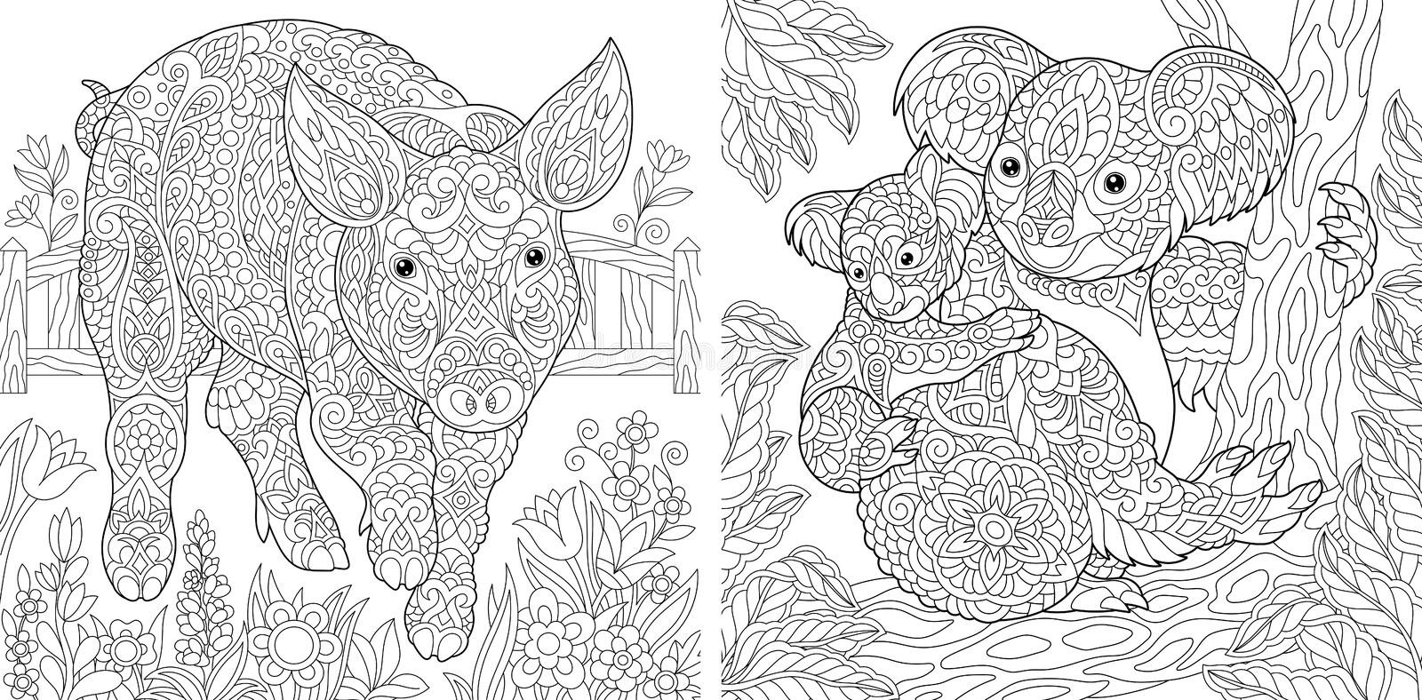 Coloring Pages. Coloring Book for adults. Cute Pig - 2019 Chinese New Year symbol. Colouring picture with koala bears. Antistress stock illustration