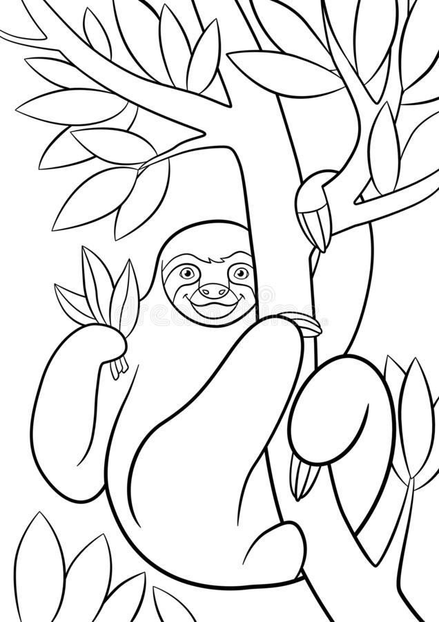 Coloring pages. Cute lazy sloth. Hangs on the tree and smiles royalty free illustration