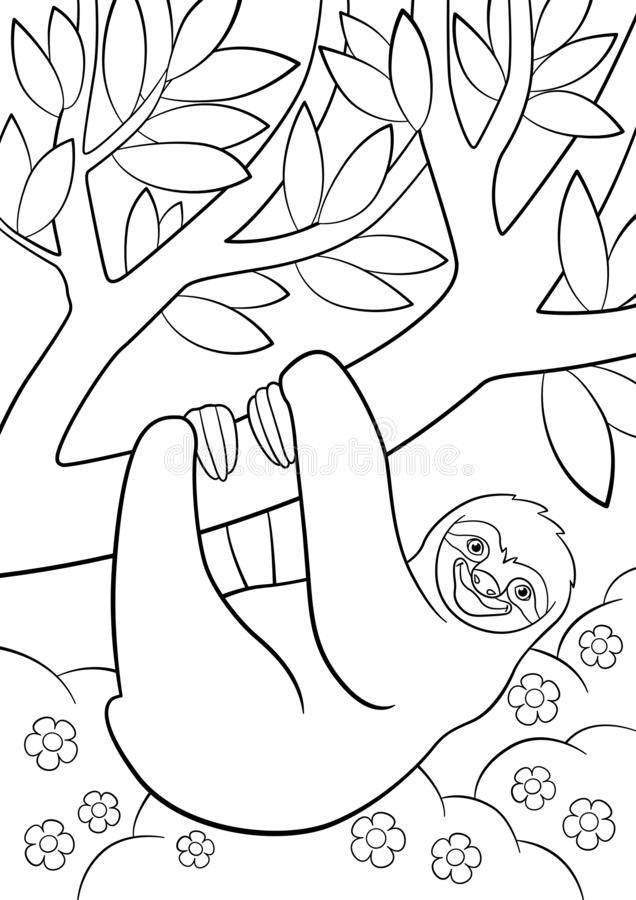 Coloring pages. Cute lazy sloth on the tree. Coloring pages. Cute lazy sloth hangs on the tree and smiles royalty free illustration