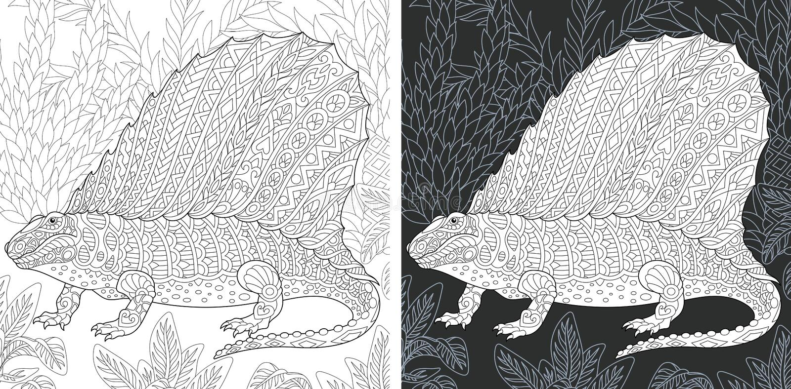 Coloring pages with Dimetrodon stock photos