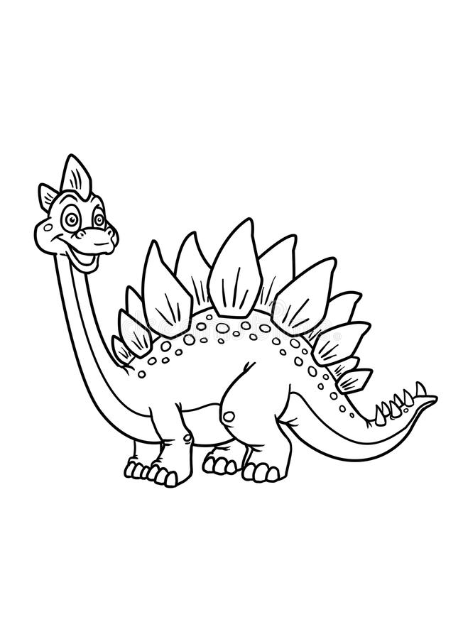 Coloring pages dinosaur vector illustration