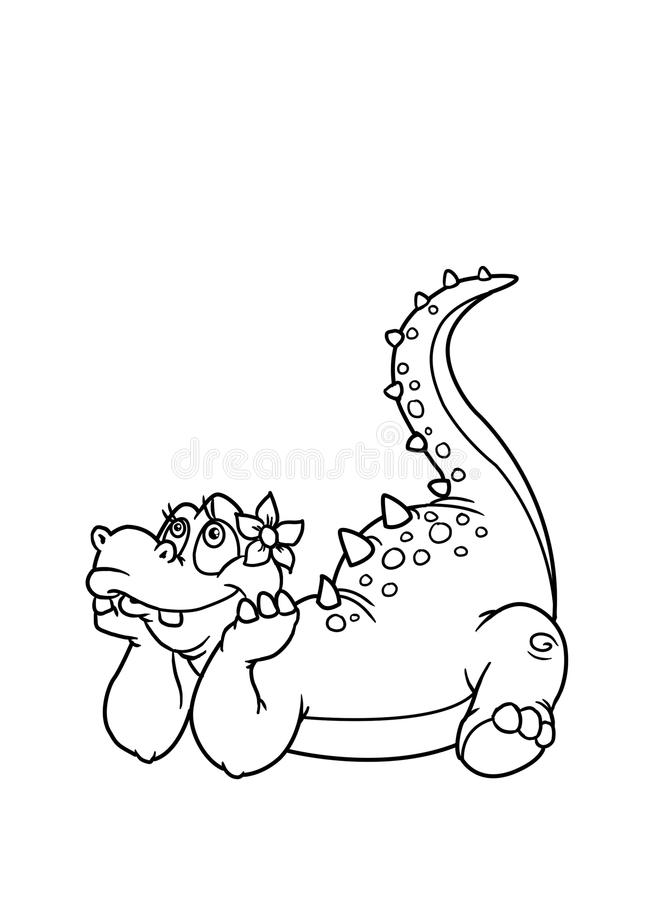 Coloring pages dinosaur. Kids paint coloring pages dinosaur dreaming girl stock illustration