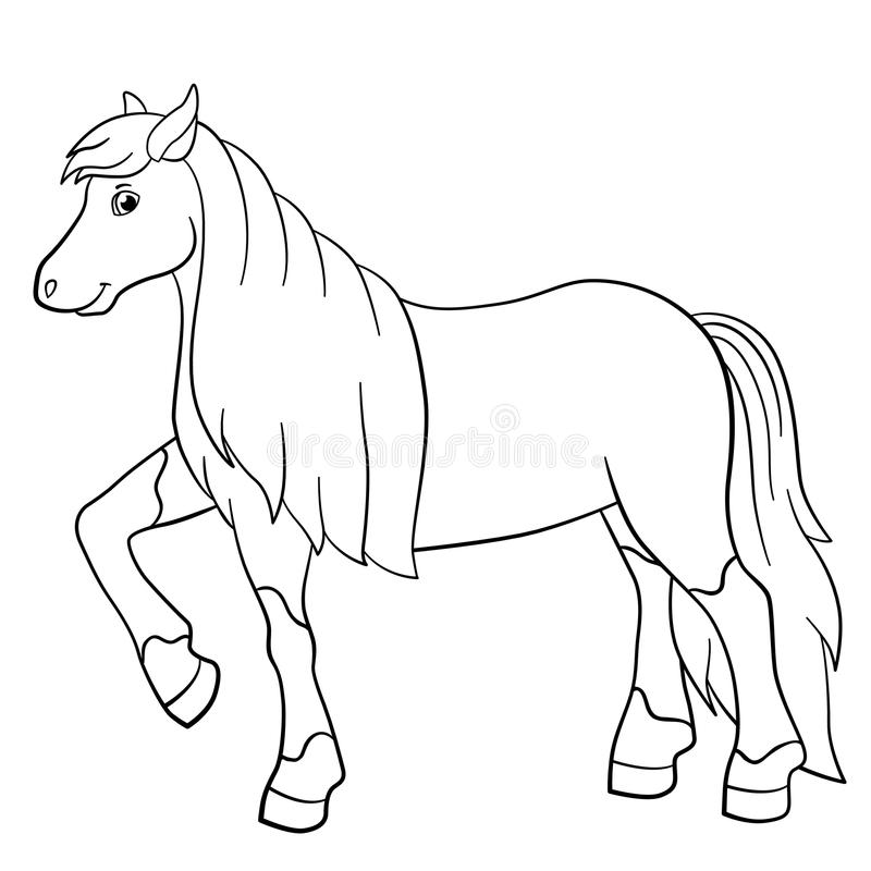 Coloring Pages. Farm Animals. Cute Horse. Stock Vector ...