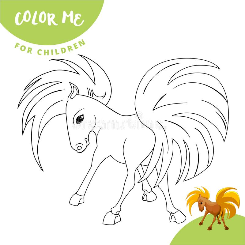 Coloring pages. Farm animals. Cute horse smiles. vector illustration