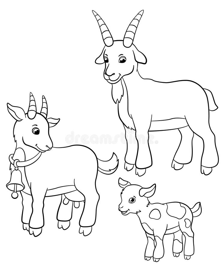 Coloring Pages. Farm Animals. Goat Family. Stock Vector ...