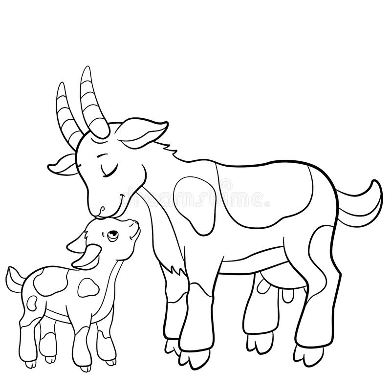 Coloring pages. Farm animals. Mother goat with her goatling. vector illustration