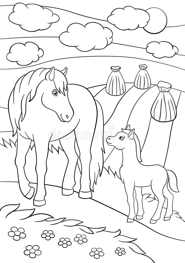 coloring pages farm animals mother horse foal her little cute field