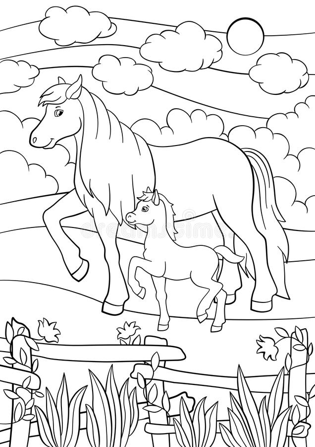 coloring pages farm animals mother horse foal walks her little cute field