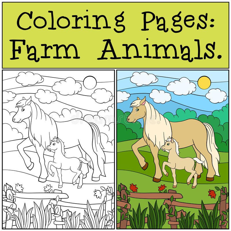 coloring pages farm animals mother horse her foal walks little cute