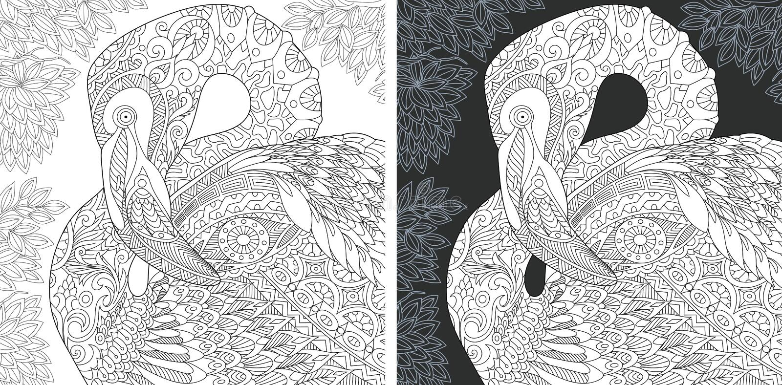 Coloring pages with Flamingo. Coloring Page. Coloring Book. Colouring picture with Flamingo drawn in zentangle style. Antistress freehand sketch drawing. Vector vector illustration