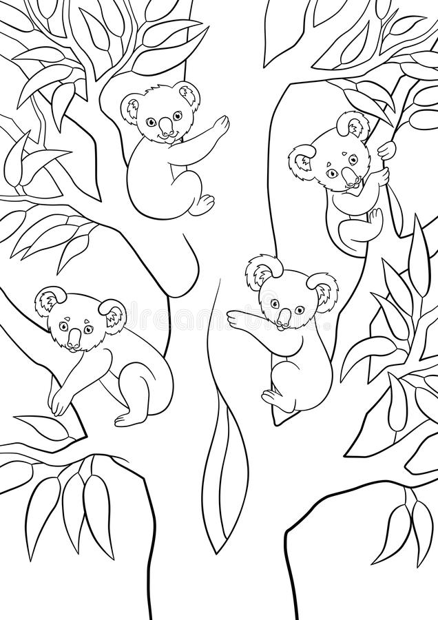 Coloring pages. Four koala babies sit on the tree. And smile royalty free illustration