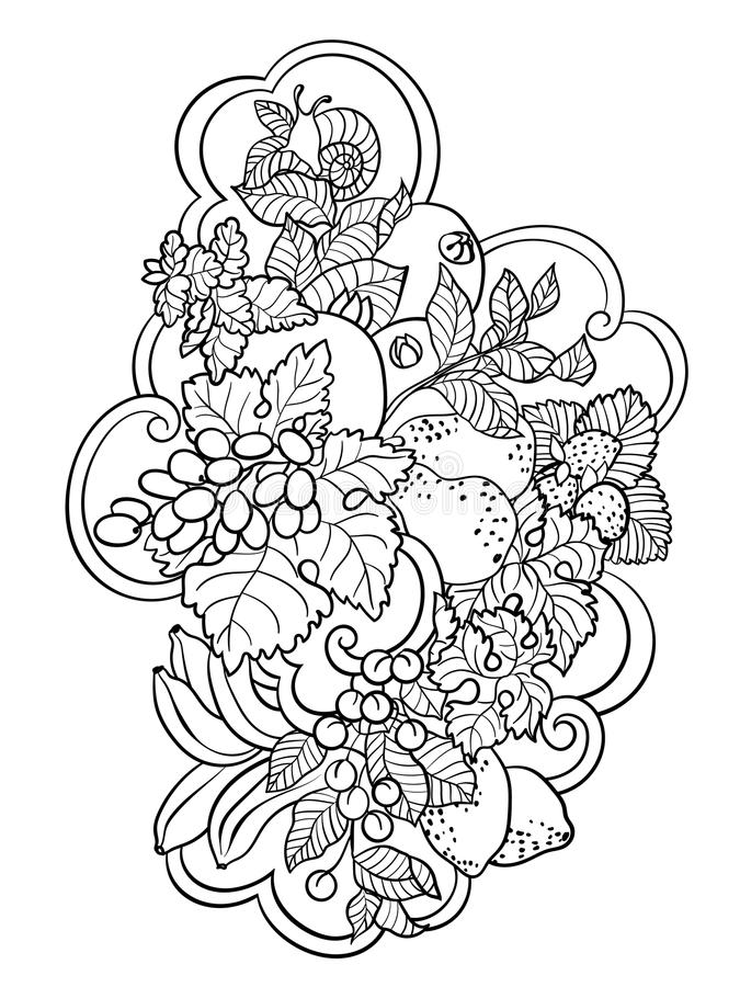 Coloring pages with fruits and abstract waves for children and a. Dult people made in vector ornament style with a lot of elements royalty free illustration