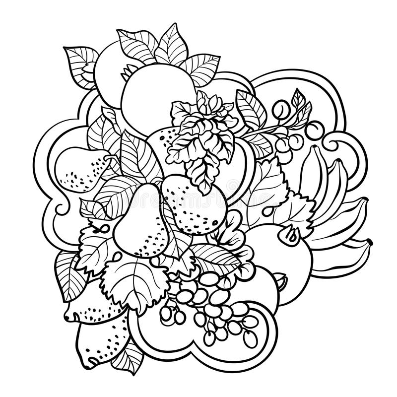 Coloring pages with fruits and abstract waves for children and a. Dult people made in vector ornament style with a lot of elements vector illustration