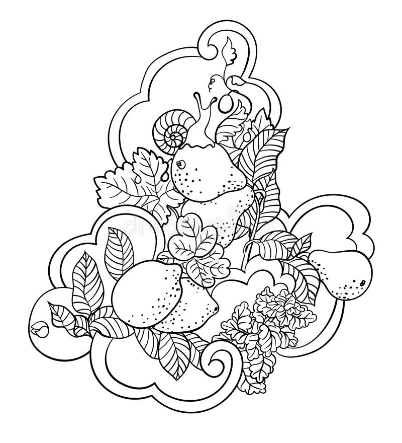 Coloring pages with fruits and abstract waves for children and a. Dult people made in vector ornament style with a lot of elements stock illustration