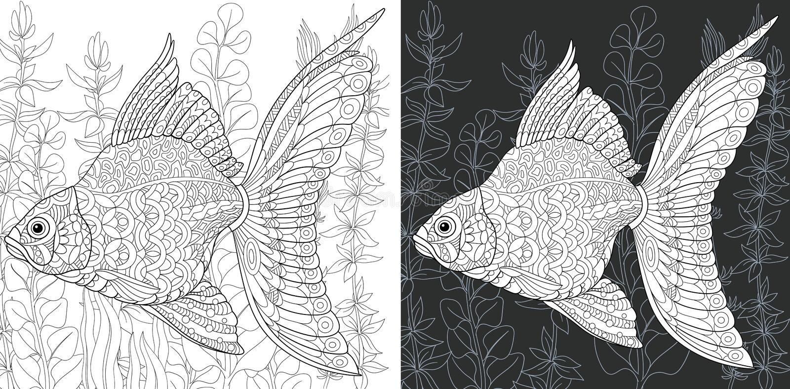 Coloring pages with Gold Fish royalty free stock photography
