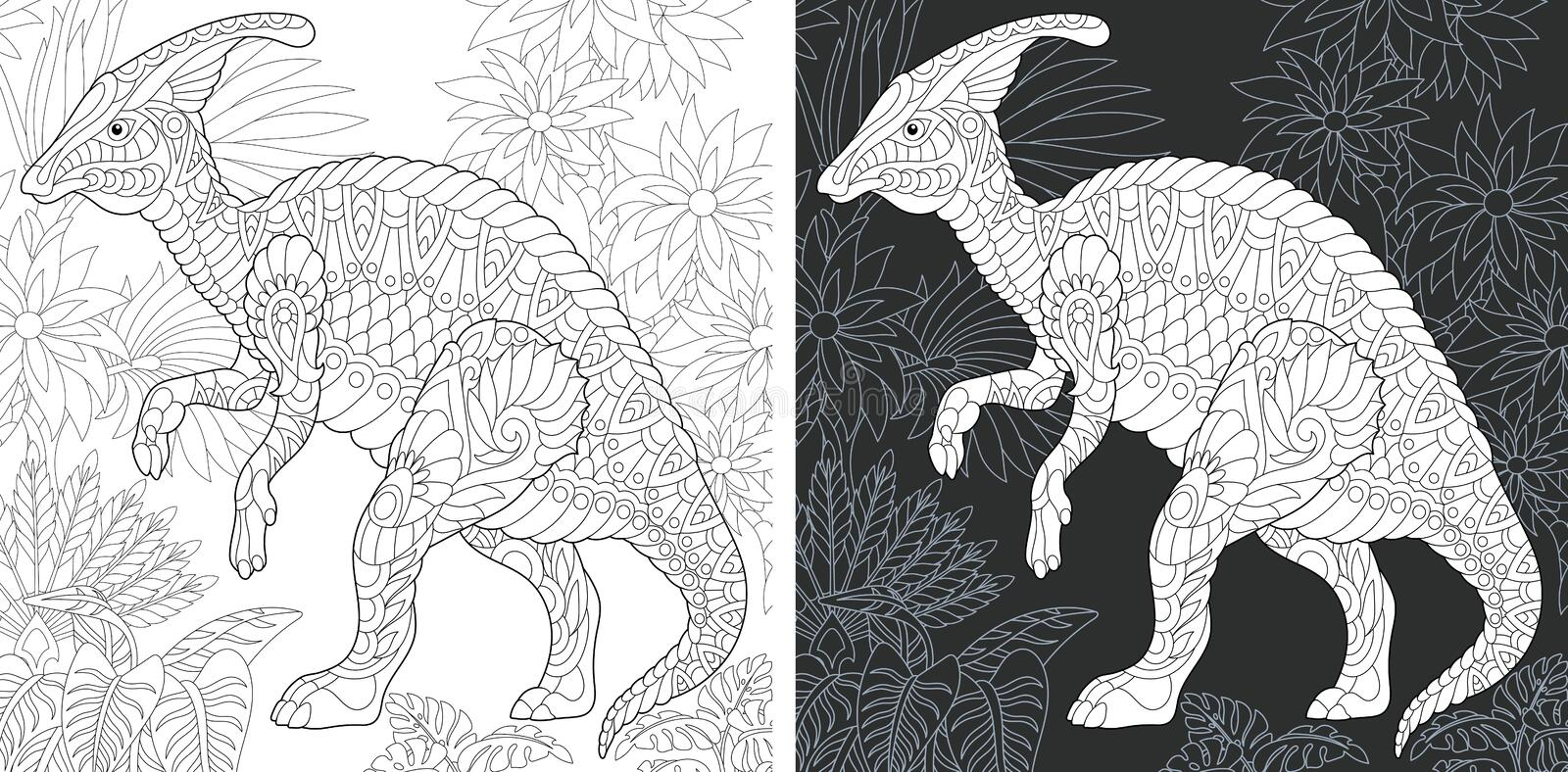 Coloring pages with Hadrosaur stock photo