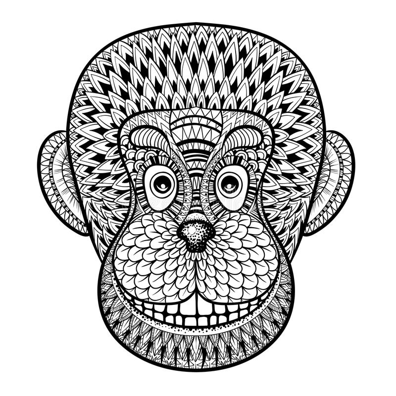 Coloring pages with head of Monkey, Gorilla, zentangle illustration for adult anti stress Coloring books or tattoo design with hi. Gh details on white background royalty free illustration