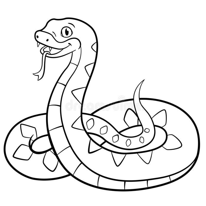 Coloring pages. Little cute viper smiles. Coloring pages. Little cute viper stands and smiles vector illustration