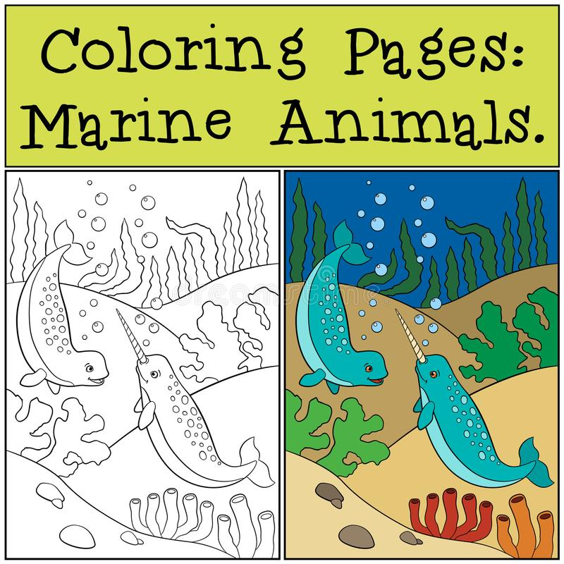 Coloring Pages: Marine Animals. Two little cute narwhals swim. Coloring Pages: Marine Animals. Two little cute narwhals swim underwater and smile royalty free illustration