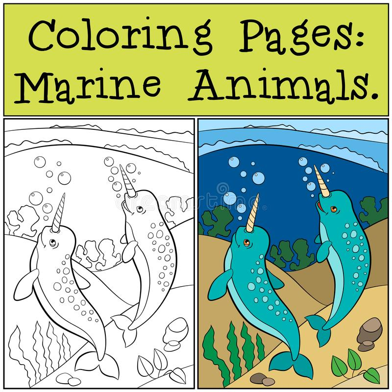 Coloring Pages: Marine Animals. Two little cute narwhals swim. Coloring Pages: Marine Animals. Two little cute narwhals swim underwater and smile stock illustration