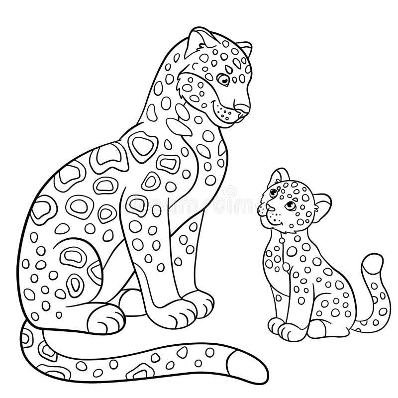 coloring pages mother jaguar her little cub cute