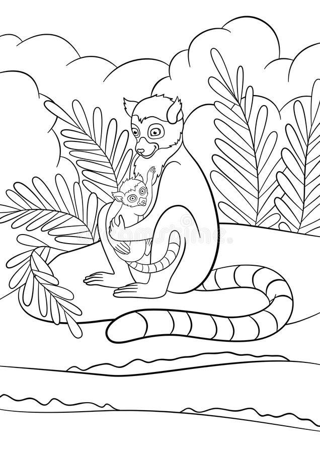 Coloring pages. Mother lemur sits on the stone near the sea with her little cute baby. Coloring pages. Mother lemur sits on the stone near the sea with her royalty free illustration
