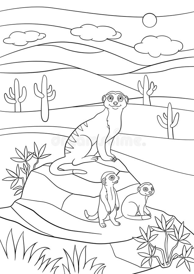 Coloring pages. Mother meerkat with her little cute babies. On the stones vector illustration