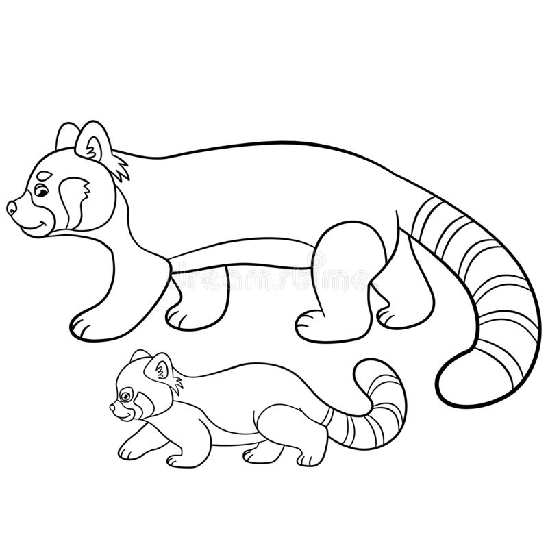 Coloring Pages Mother Red Panda Walks With Her Baby Stock Vector Illustration Of Bamboo Happy 141139776