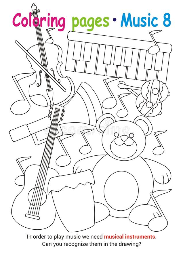 Download Coloring Pages About Music Stock Vector Illustration Of Game