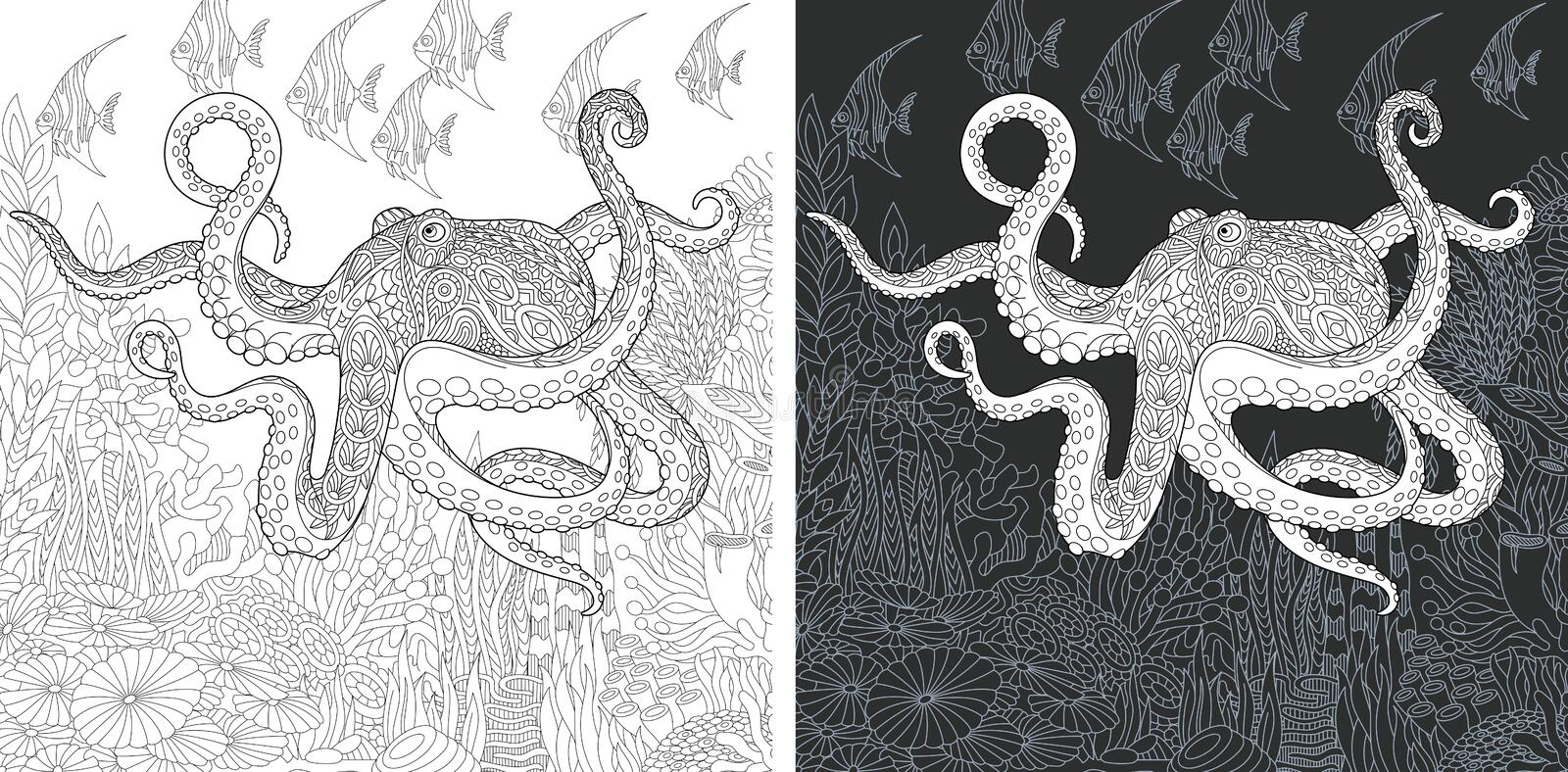 Coloring pages with Octopus stock photography