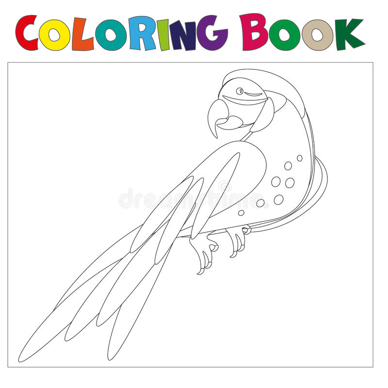 Coloring pages Parrot . Little cute parrot.Vector illustration stock illustration