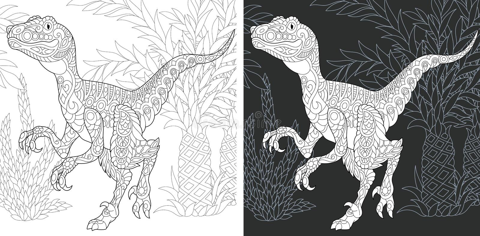 Coloring pages with Raptor royalty free stock photo