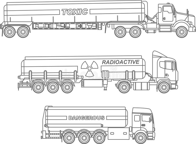 Coloring pages. Set of different kind cistern trucks carrying chemical, radioactive, toxic, hazardous substances flat vector illustration
