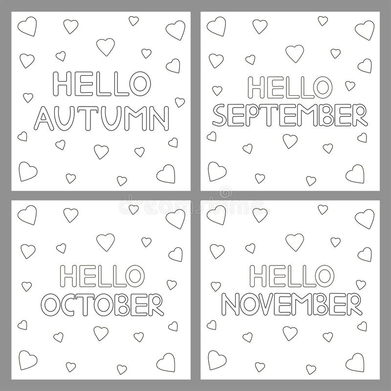Coloring pages set with phrases Hello Autumn, hello September, h. Ello October, hello November. Vector illustration stock illustration