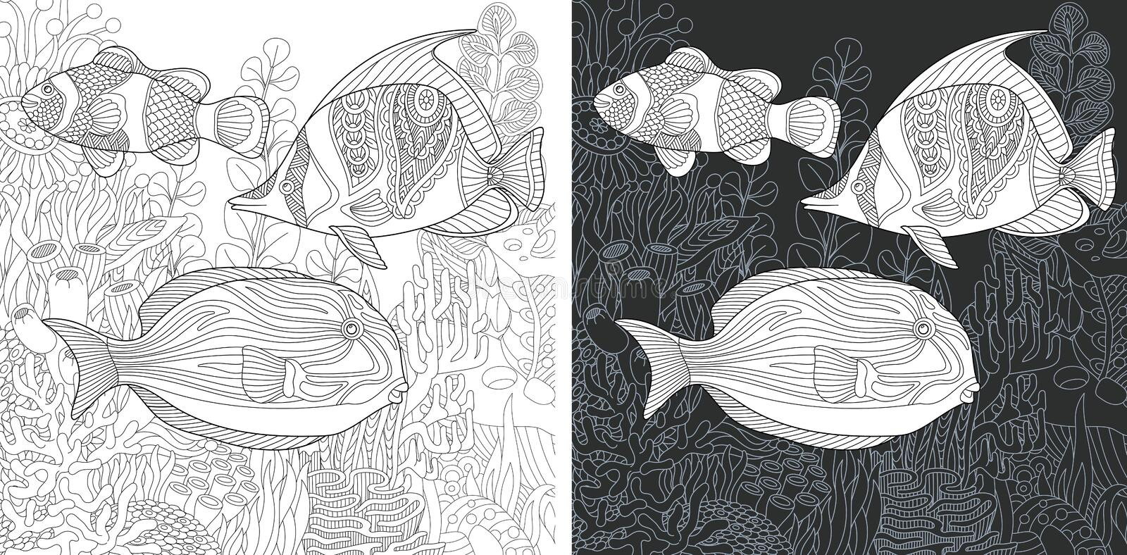 Coloring pages with Tropical Fishes royalty free stock photography