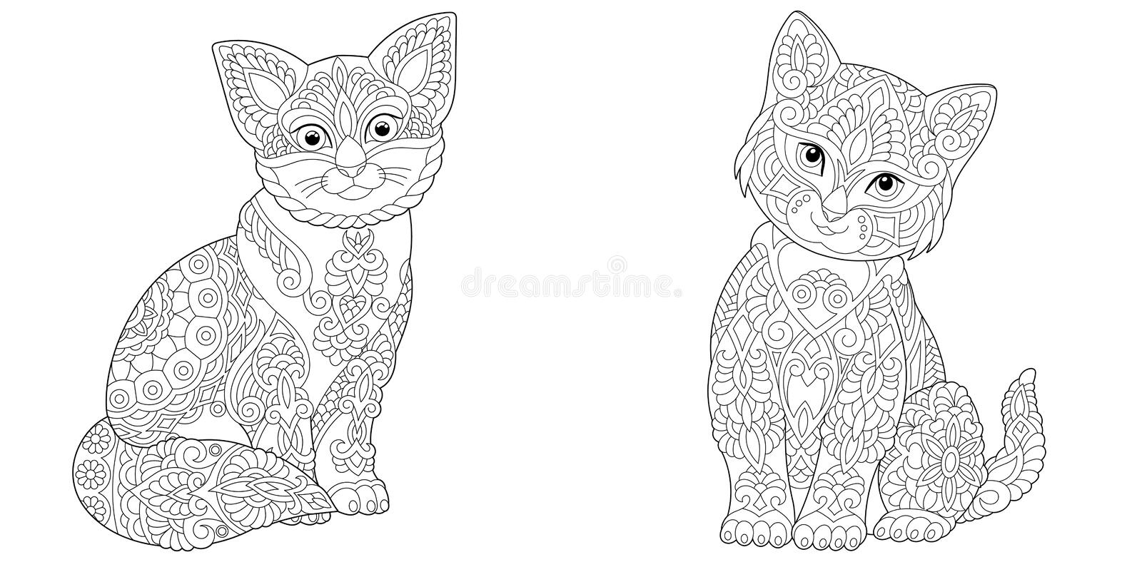 Coloring Pages With Two Cats Stock Vector - Illustration Of Kitten,  Drawing: 182957539