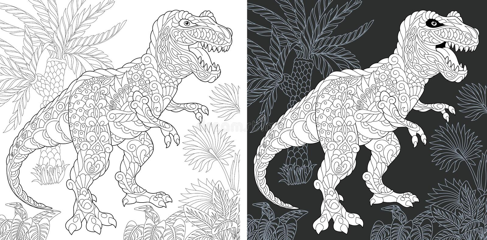 Coloring pages with Tyrannosaurus rex royalty free stock images