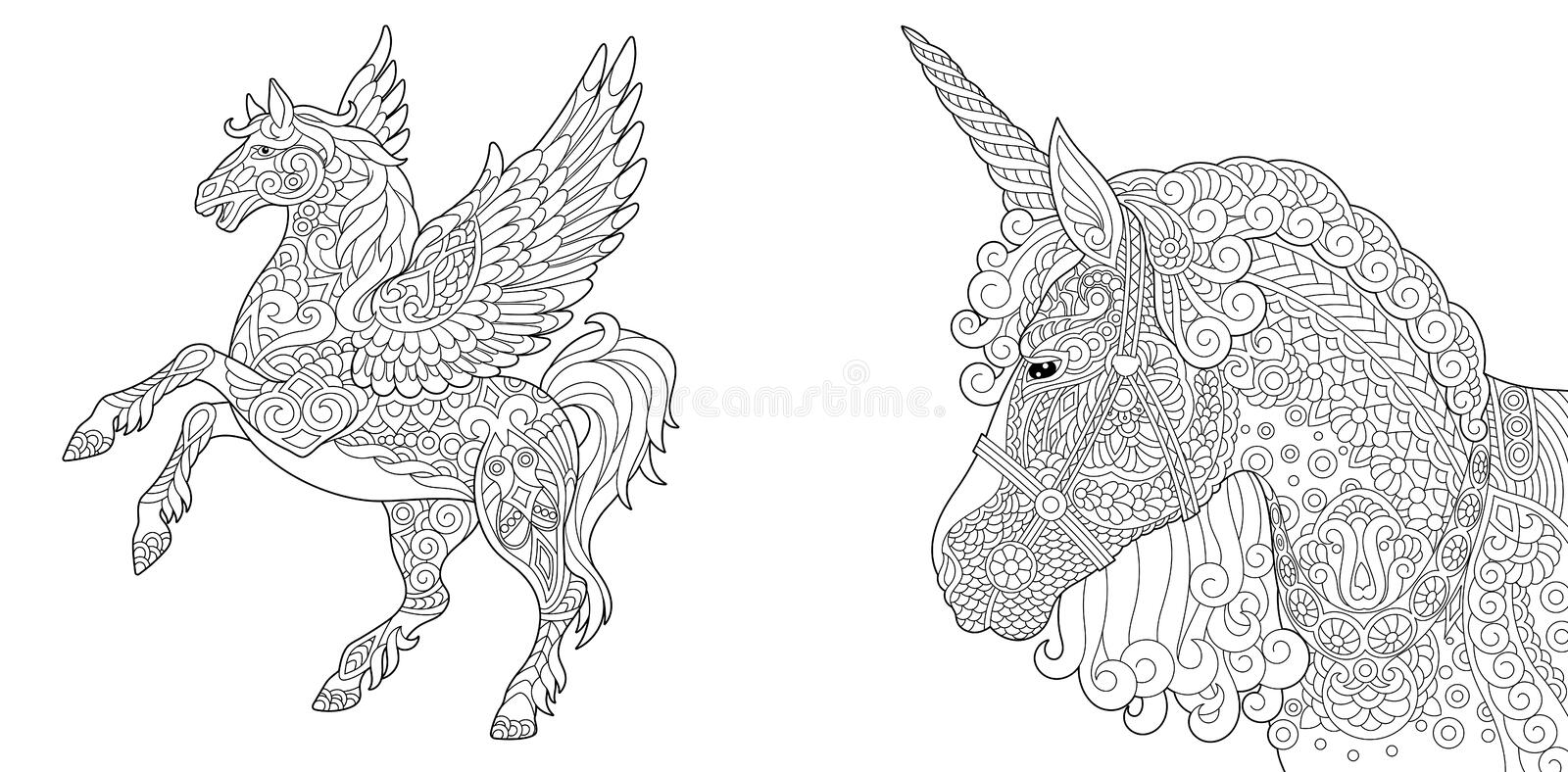 Coloring pages with unicorn and pegasus stock illustration