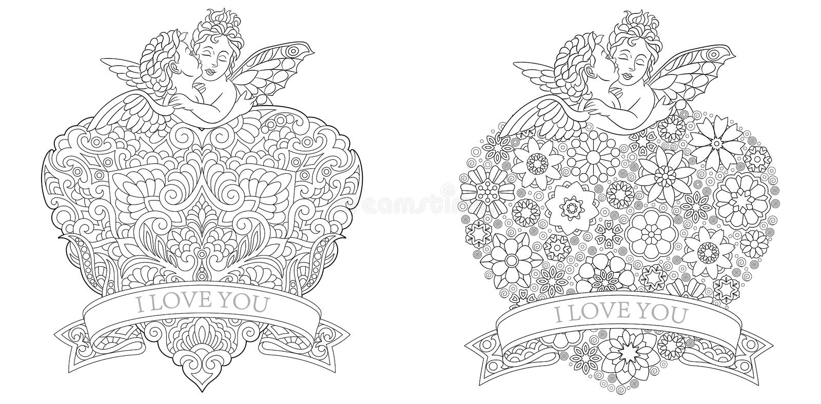 Coloring pages with valentine baby angels kissing royalty free illustration