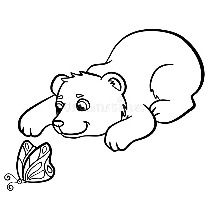 Download Coloring Pages Wild Animals Little Cute Baby Bear Stock Vector