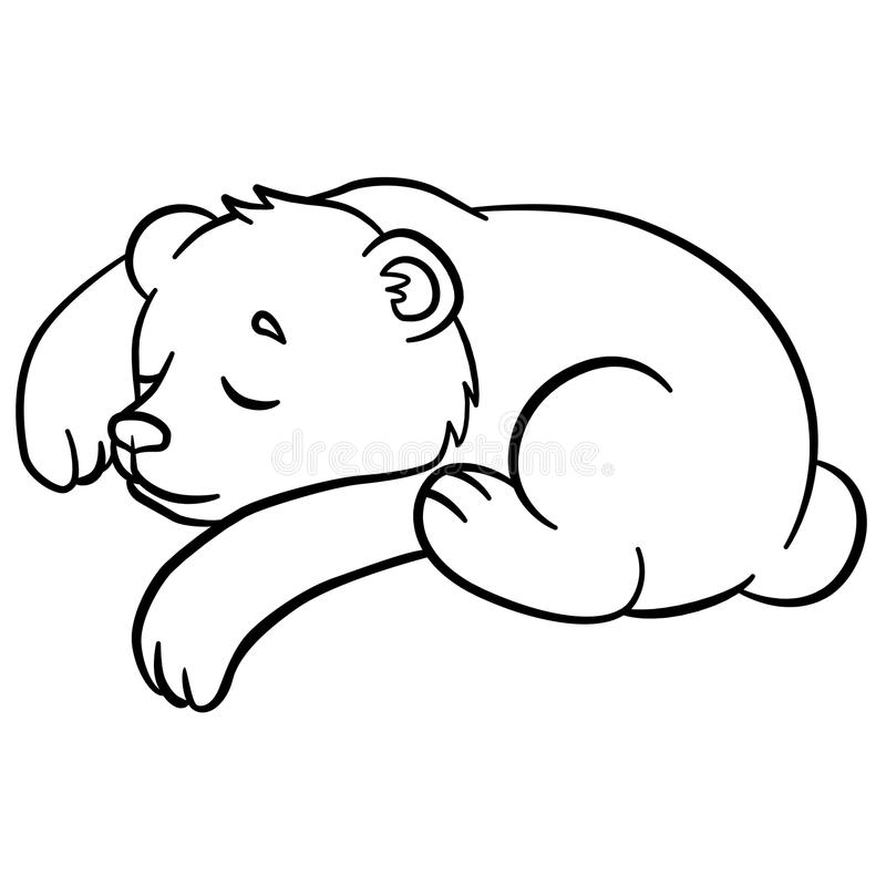 Coloring Pages. Wild Animals. Little Cute Baby Bear Sleeps. Stock ...